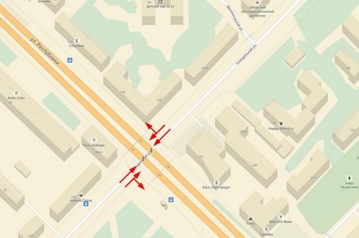 Поменяется схема движения наперекрестке улиц Холодильной иРеспублики