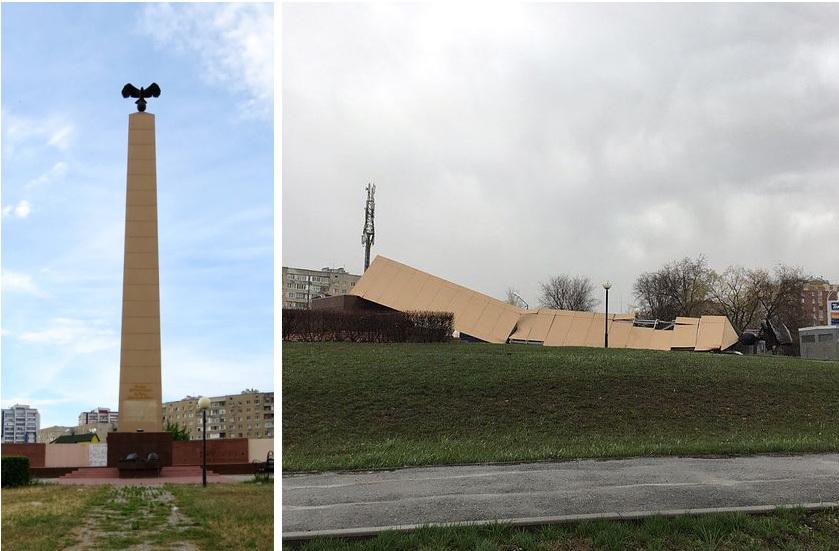 ВВолгодонске из-за сильного ветра рухнула 25-метровая стела