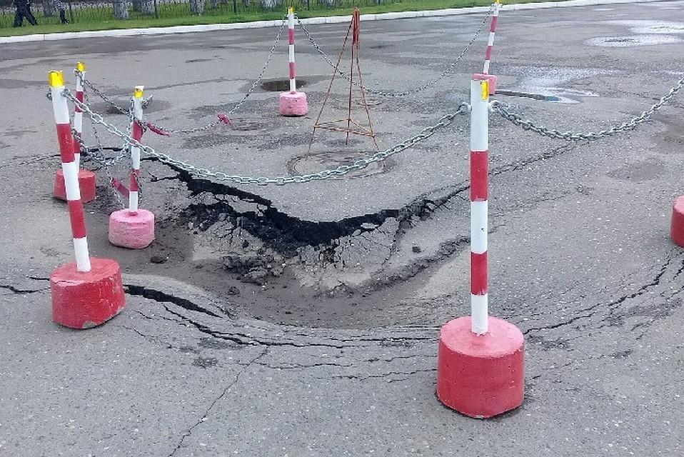 ВНефтекамске обрушился грунт около хоккейного стадиона