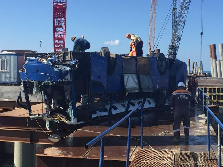 Роструд начал проверку всвязи спадением автобуса вКерченский пролив