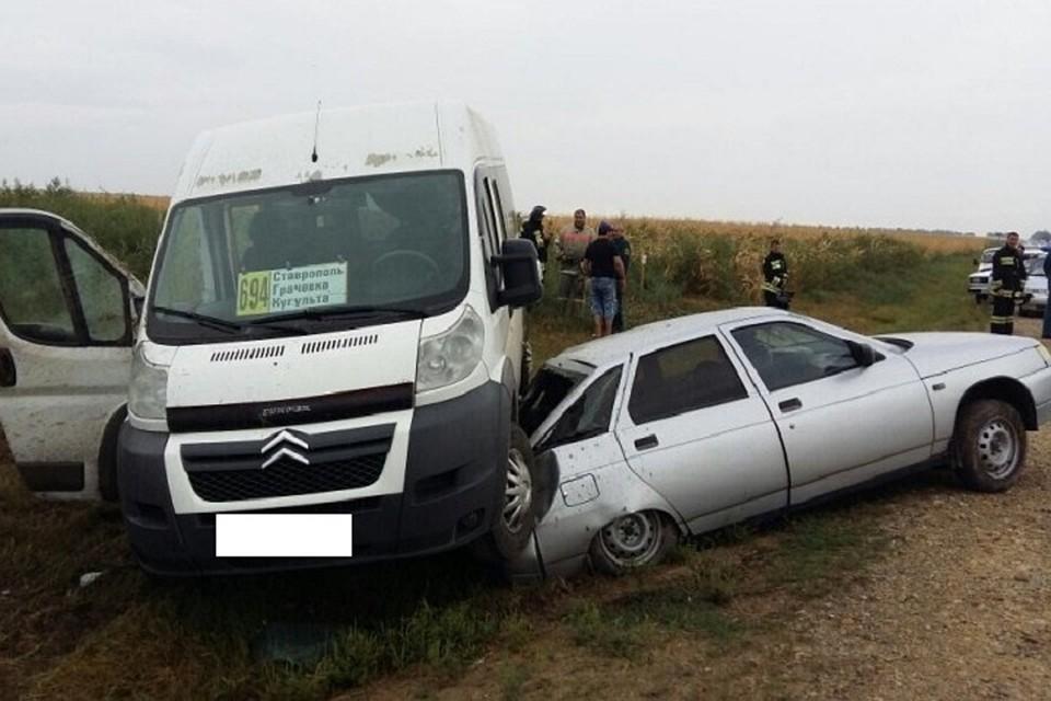 Жесткое столкновение 2-х пассажирских автобусов случилось наСтаврополье— есть пострадавшие