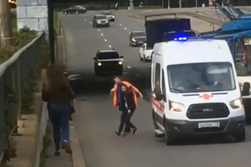 Свидетели спасли котенка, выбежавшего напроезжую часть вПетербурге