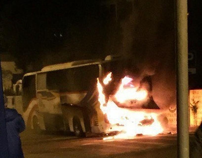 Выгорел дотла автобус футбольной команды изАстрахани