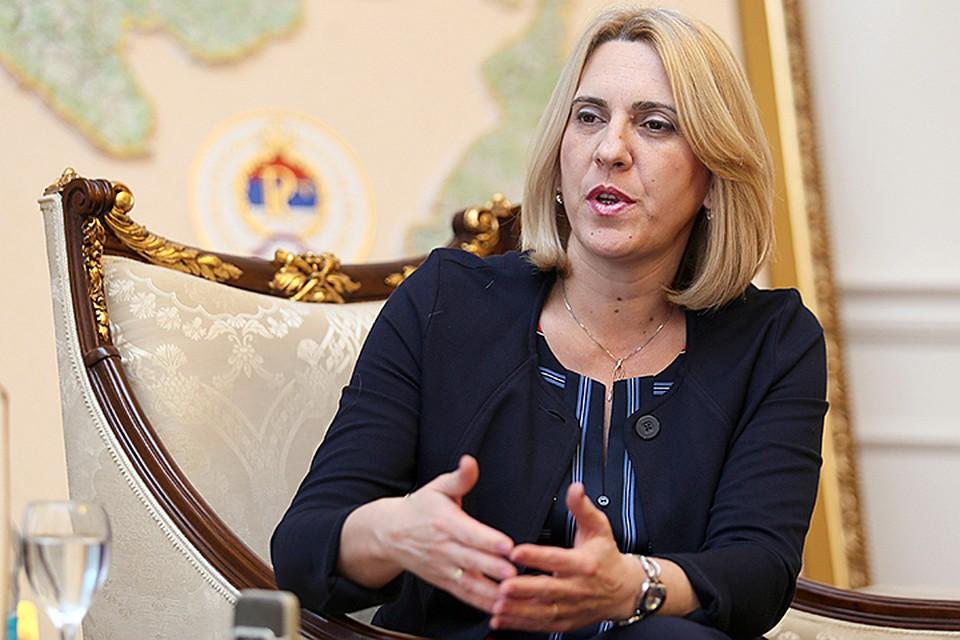 Желька Цвиянович ответила на вопросы «Комсомольской правды». Фото: пресс-служба кабмина Республики Сербской