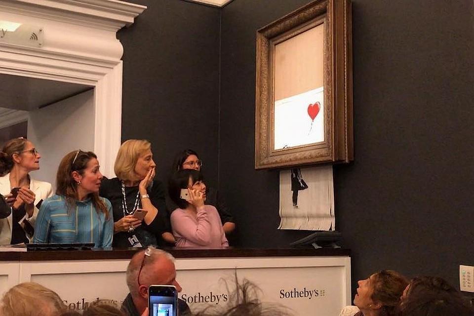 Картина Бэнкси, которую продали нааукционе Sotheby's за $1,1 млн, самоуничтожилась