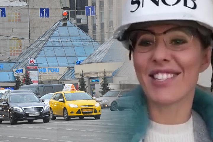 Как потом выяснилось, это была фотосессия для журнала «Сноб», в котором работает Собчак. А по-настоящему «Пирамиду» должны снести в ночь с 23 на 24 февраля. Фото: Виктор ГУСЕЙНОВ, скриншот с видео