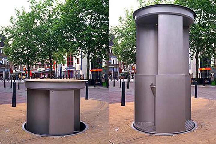 """""""Выныривающий"""" туалет на улицах Лондона. Днем незаметен, к вечеру появляется."""