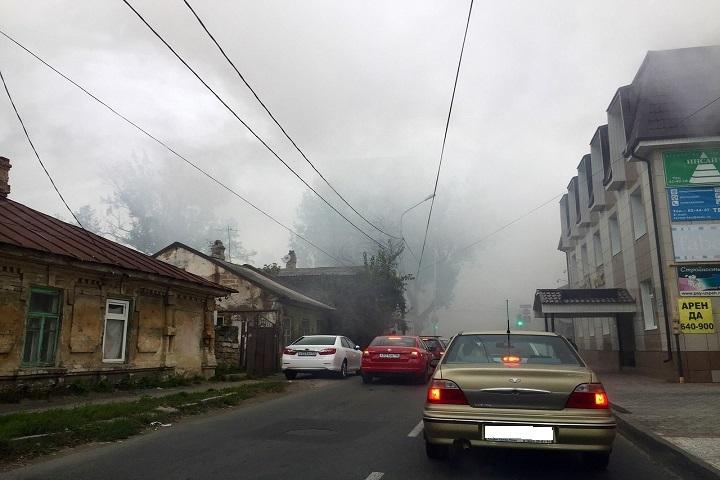 Дом зажегся вцентре Ставрополя