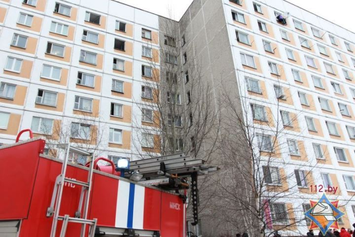 Напожаре вобщежитии вМинске эвакуировано 280 человек