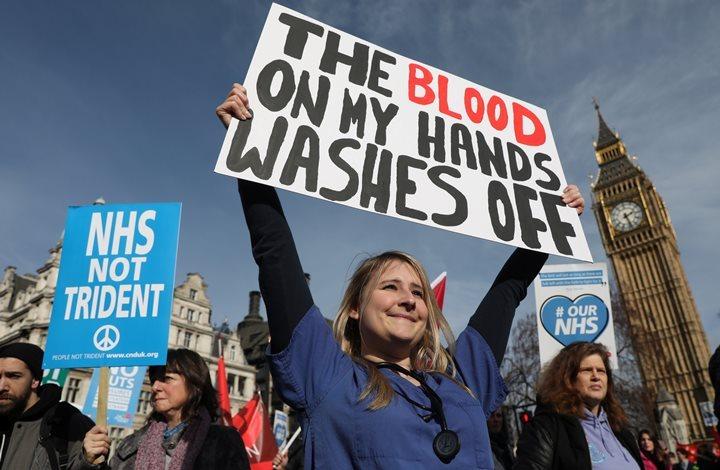 НаБританских островах прошел митинг против сокращения расходов намедицину