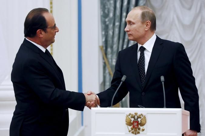 """Путин напомнил, что """"Россия и Франция знают, что такое дух союзничества, так было не один раз в нашей истории"""" Фото: REUTERS"""