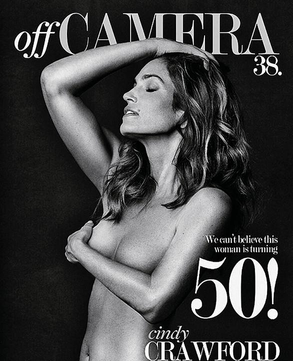 В полувековой юбилей красавица Синди Кроуфорд легко позирует для обложки журнала топлес. Фото: Instagram.com