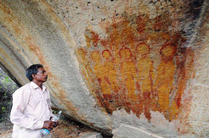 Загадочный рисунок в индийской пещере.