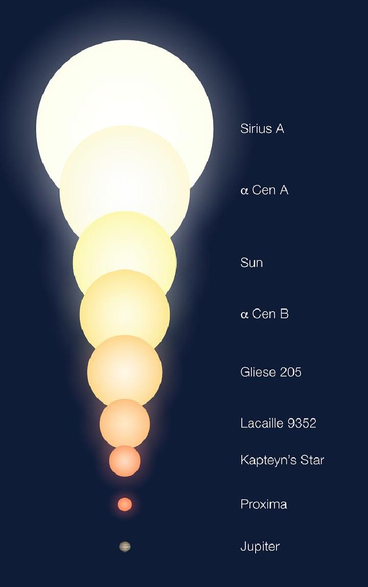 Две звезды в системе Альфа Центавра - А и В - похожи на наше Солнце и по характеристикам и по размеру. Проксима Центавра - красный карлик.