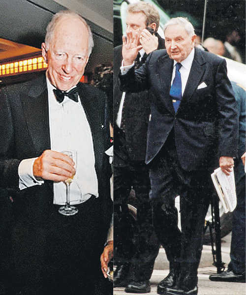 Что бы ни задумали главы семейств - 76-летний Джейкоб Ротшильд (слева) и 96-летний Дэвид Рокфеллер - в выигрыше должны остаться только они...