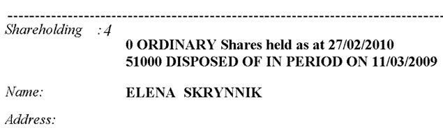 Скрынник владела британской компанией, пока руководила Росагролизингом, а как стала министром, от акций избавилась.