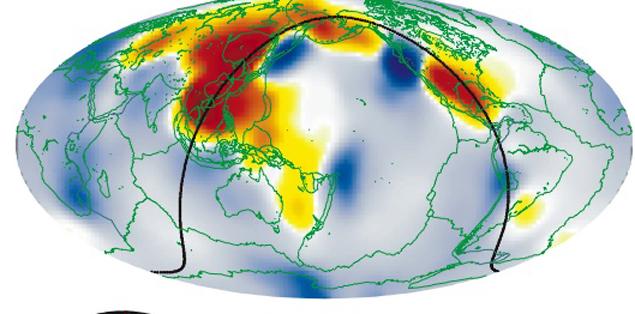 Подземные океаны, которые, возможно,  располагаются в недрах, обозначеные красным. Они выявлены благодаря аномалиям в прохождении сейсмических волн.