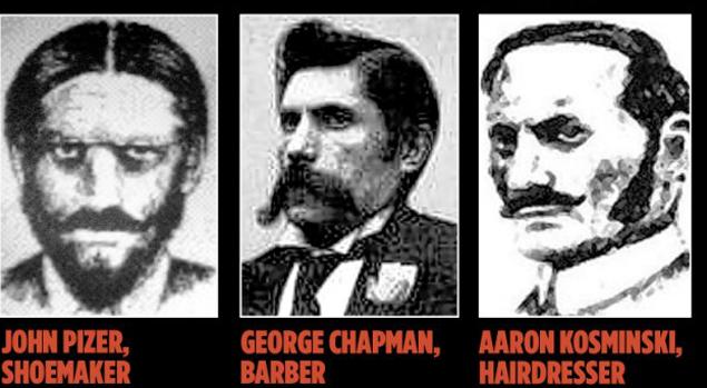 Все шесть подозреваемых. Джек Потрошитель - последний в нижнем ряду.