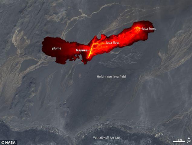 Фото НАСА, демонстрируюшее огненную кальдеру и поле раскаленной лавы Бардарбунги.