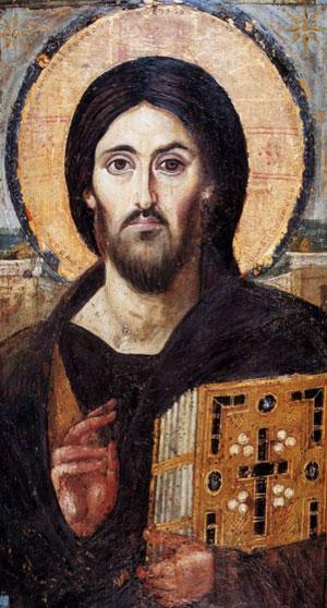 Древнейшее из известных иконописных изображений Христа. Такой канонический образ появился только в VI веке. До этого Христа изображали курчавым и коротковолосым