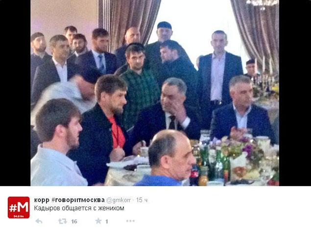 """Рамзан Кадыров пообщался с женихом. ФОТО: твиттер-трансляция радиостанции """"Говорит Москва"""""""