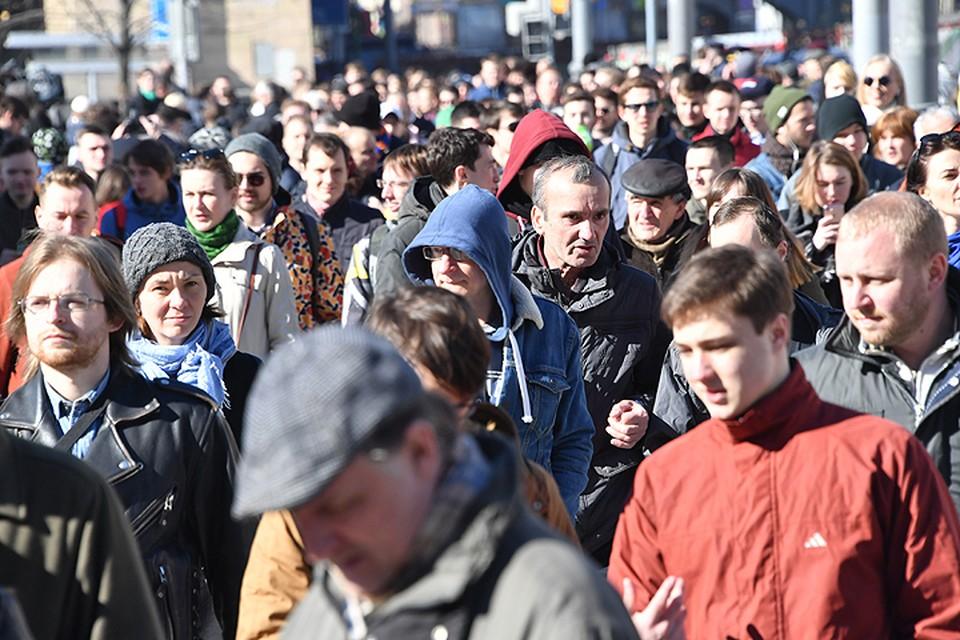 """""""Много людей пришло на Тверскую. Правда, они не знают, что им делать. Толпятся"""""""