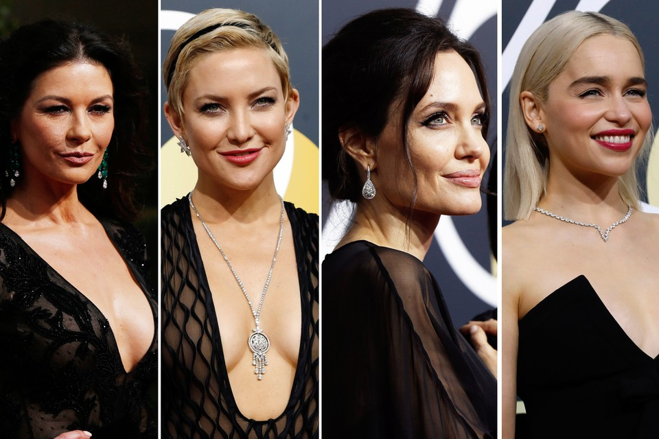 Слева направо: Кэтрин Зета-Джонс, Кейт Хадсон, Анджелина Джоли, Эмилия Кларк.