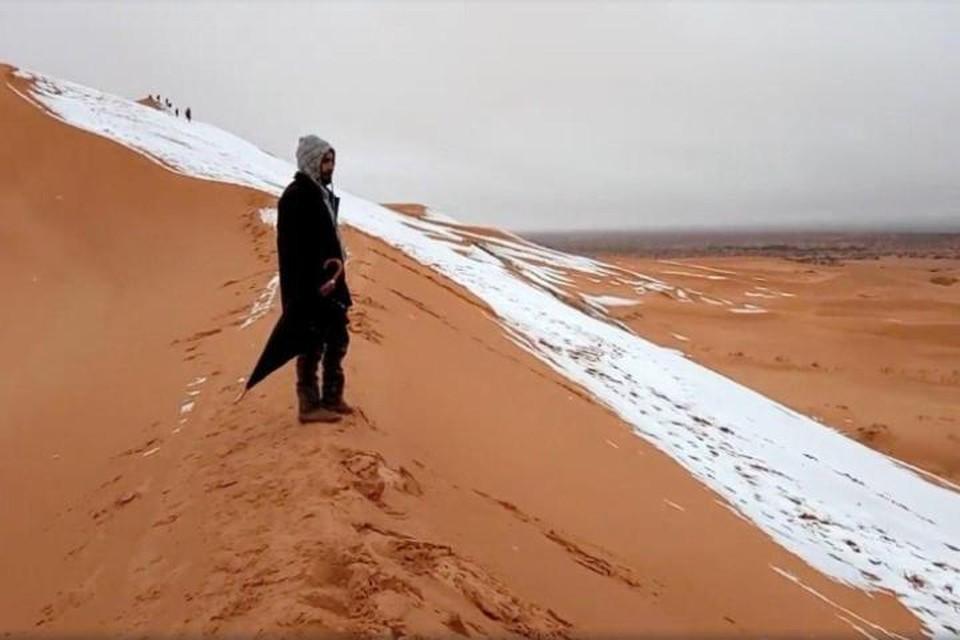 В пустыне Сахара вновь выпал снег