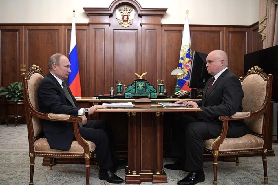 Встреча президента РФ Владимира Путина с временно исполняющим обязанности губернатора Кемеровской области Сергеем Цивилевым