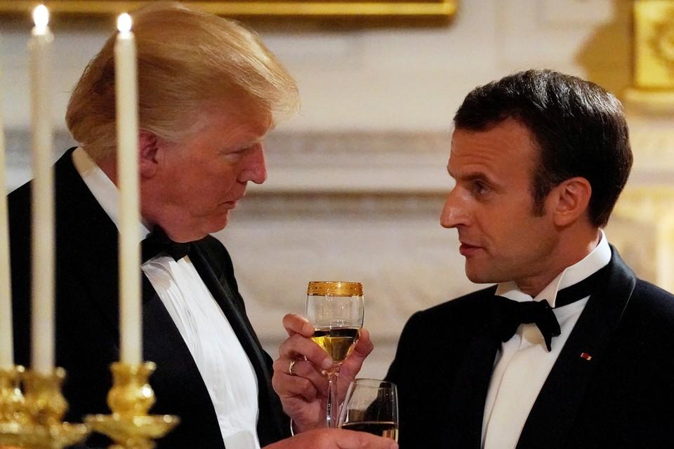 Президент США Дональд Трамп и французский лидер Эммануэль Макрон