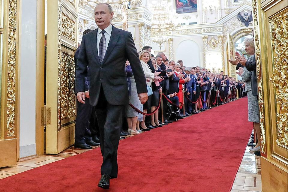 Владимир Путин перед началом церемонии инаугурации президента России.