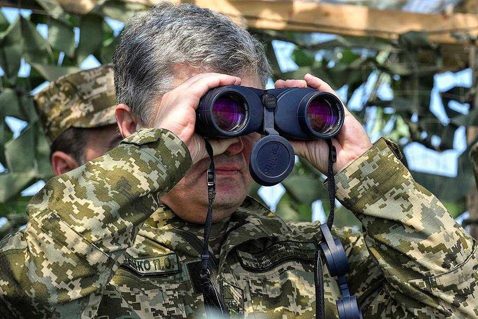 Президент Украины Петр Порошенко на полигоне в Херсонской области.