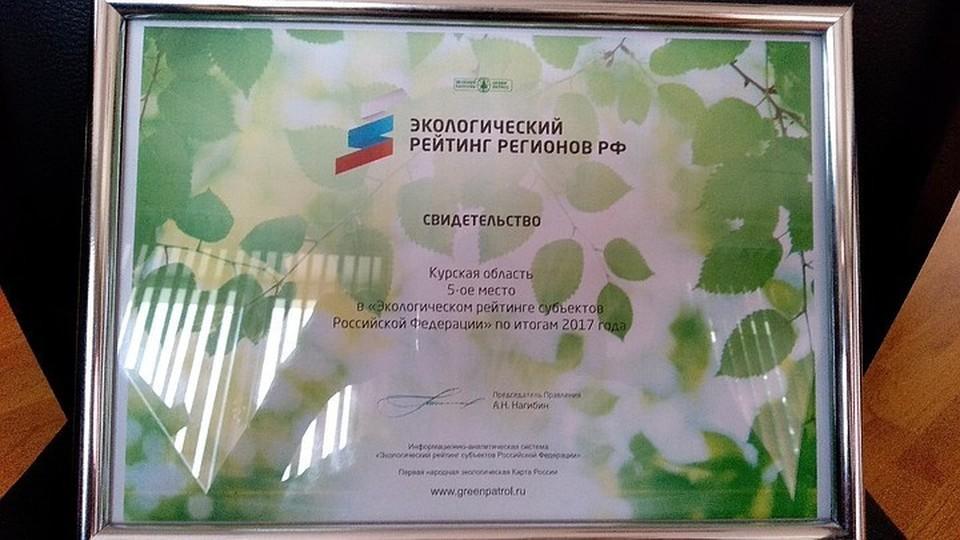 По итогам 2017 года Курская область заняла пятое место В «Экологическом рейтинге субъектов РФ».