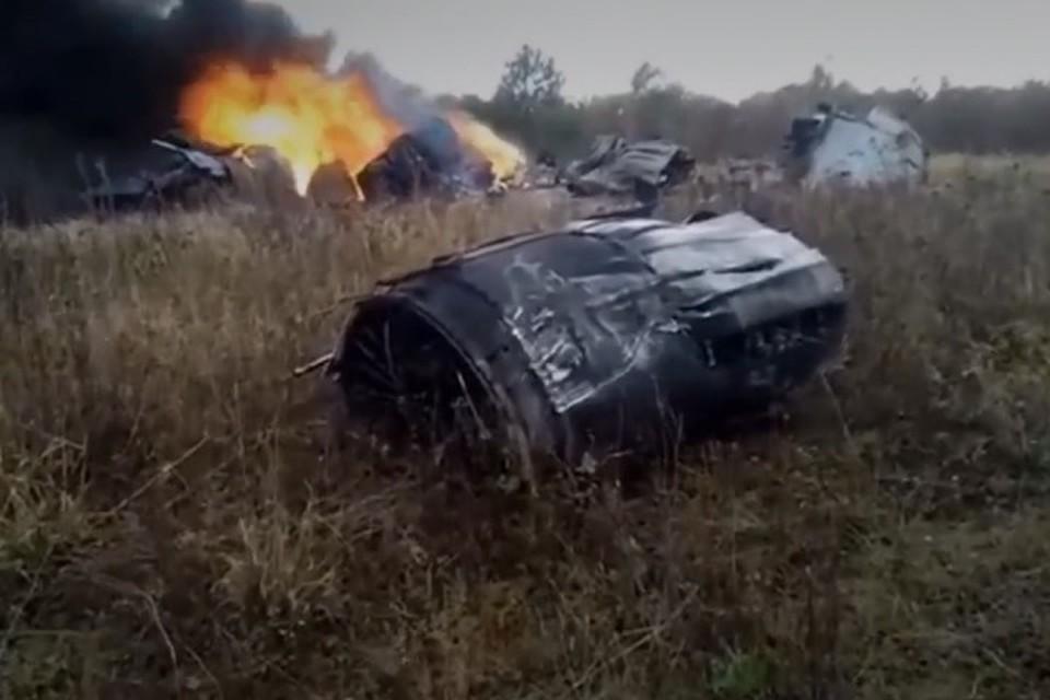 Появилось видео первых секунд после падения МиГ-29 в Подмосковье