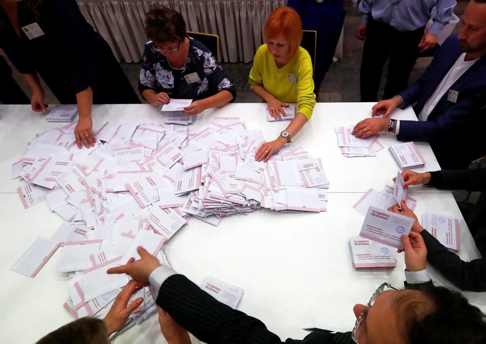 Подсчет голосов на выборах в Сейм Латвии
