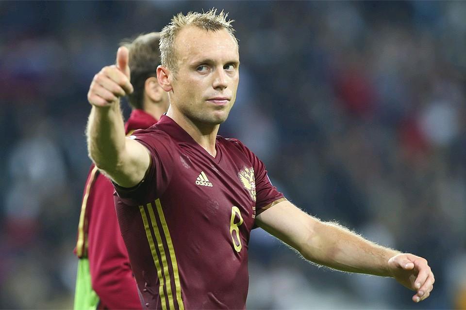 Футболист Денис Глушаков в составе сборной России.