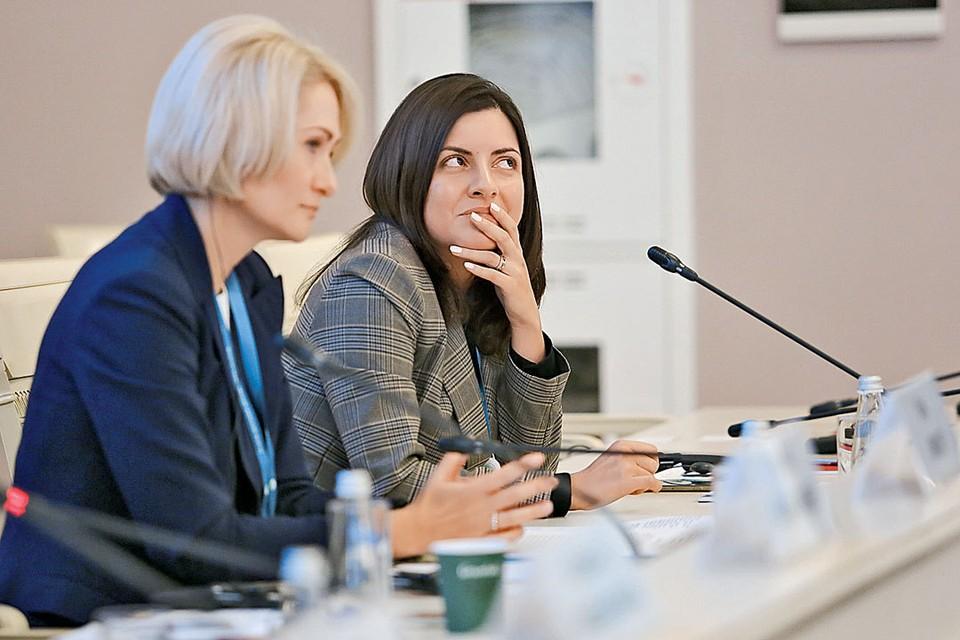 Сентябрь 2018 г. Участницы Евразийского женского форума в Санкт-Петербурге во время деловой сессии о цифровой экономике