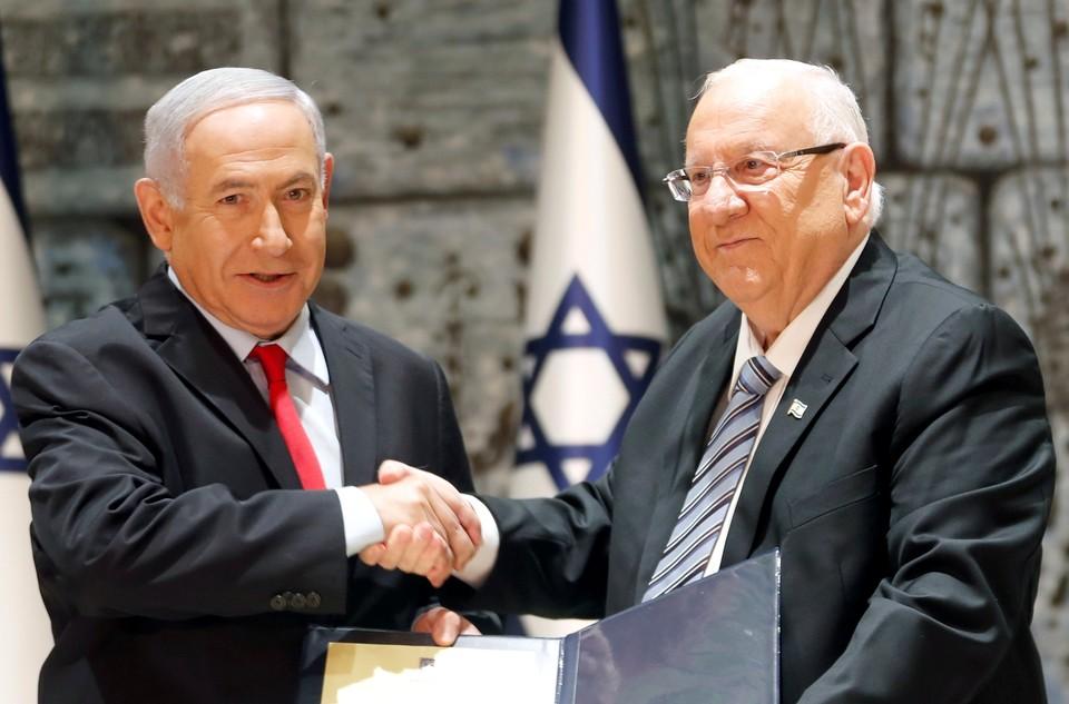 Премьер-министр Израиля Биньямин Нетаньяху (слева) и президент Израиля Реувен Ривлин