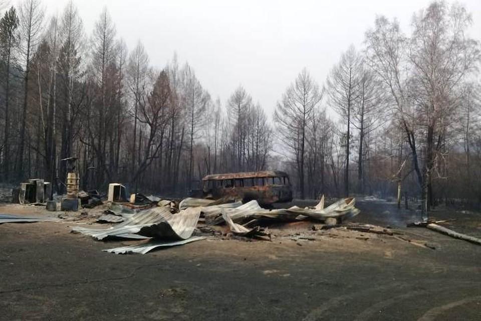 Появилось видео последствий пожара в Большом Голоустном.