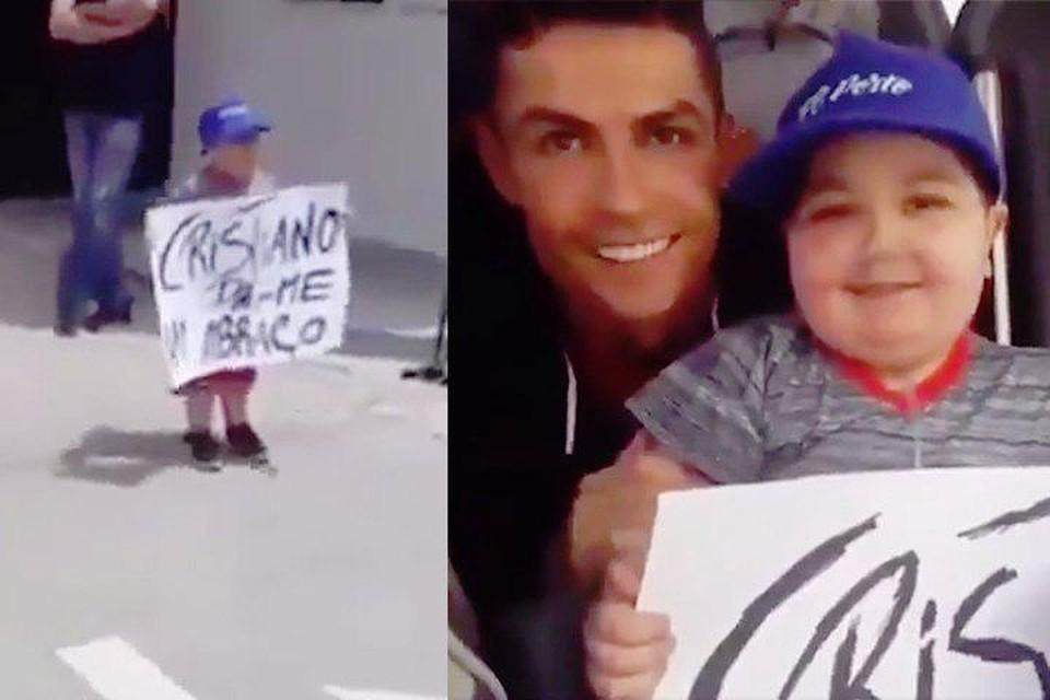 Роналду остановил автобус сборной Португалии ради фото с больным ребенком. Фото: скрин с видео