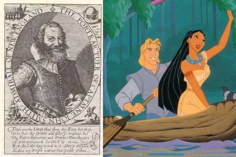 Джон Смит на портрете из гравюре мемуаров и в мультфильме о Покахонтас не очень-то похожи.