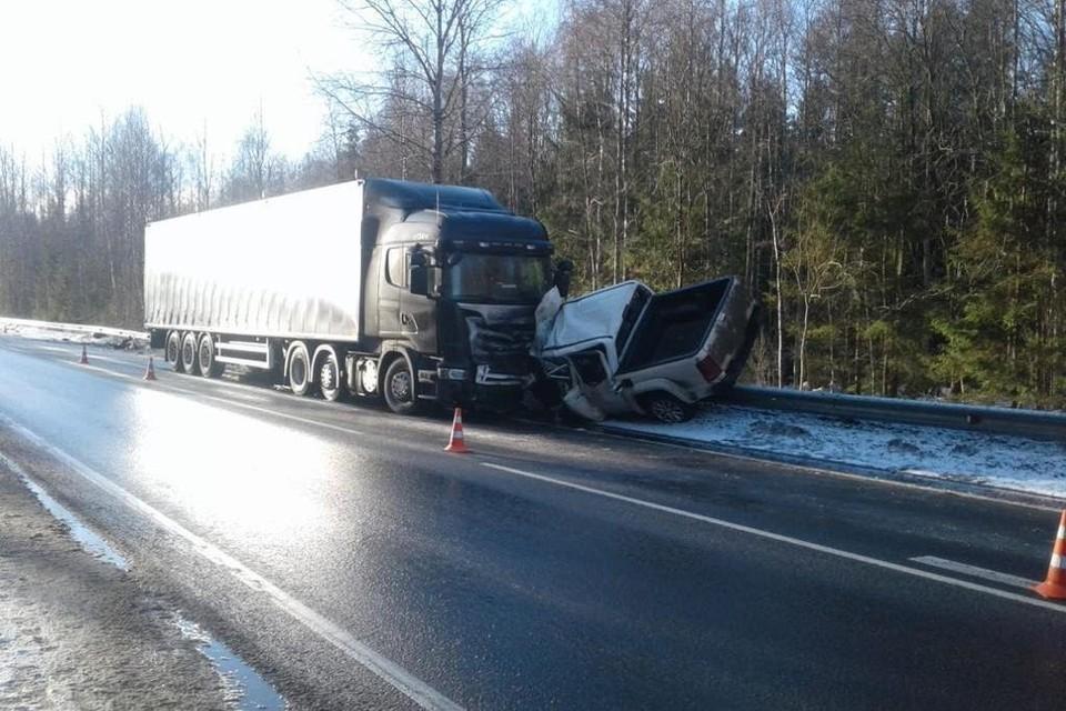 На 495-м километре трассы Вологда – Новая Ладога столкнулись грузовик Скания и Фольксваген. Фото: Личный архив