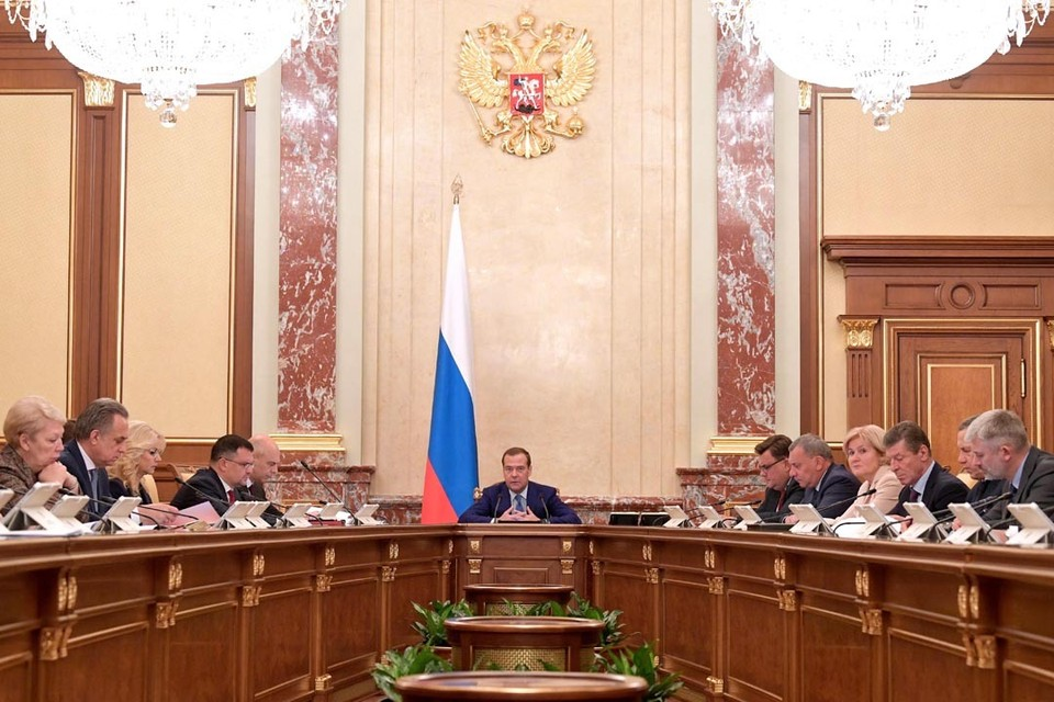 Премьер-министр РФ Дмитрий Медведев во время заседания правительства. Фото: Александр Астафьев/ТАСС