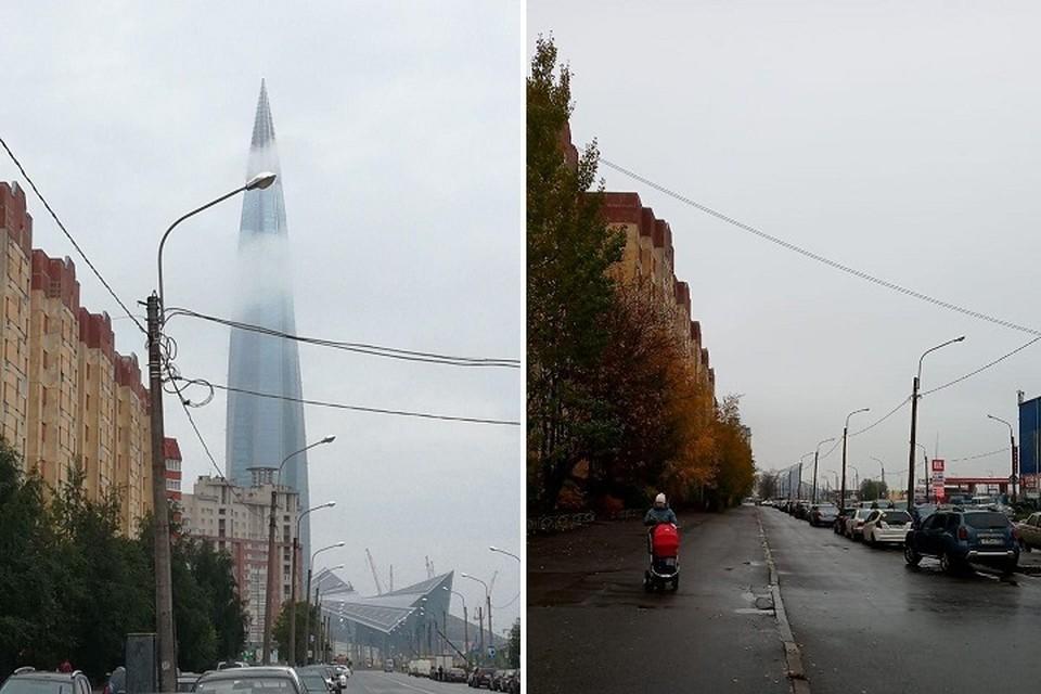 """Туман """"украл"""" башню """"Лахта Центра"""""""