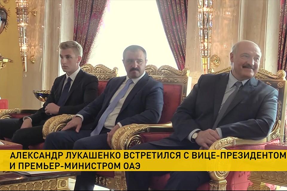 Лукашенко привел сына Николая на встречу с премьером Эмиратов. Кадр телеканала ОНТ.