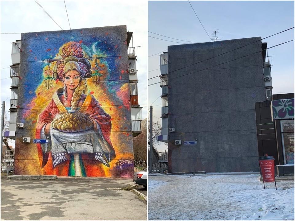 Слева фото, как было. Справа - как стало. Фото: vk.com/GraffitiRussia