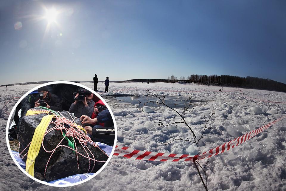 Из озера Чебаркуль достали большой кусок метеорита. Однако не исключено, что на дне лежат еще два крупных осколка.