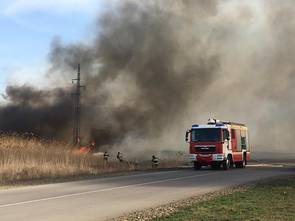 Площадь пожара составила 700 квадратных метров. Фото: ГУ МЧС России по РО.