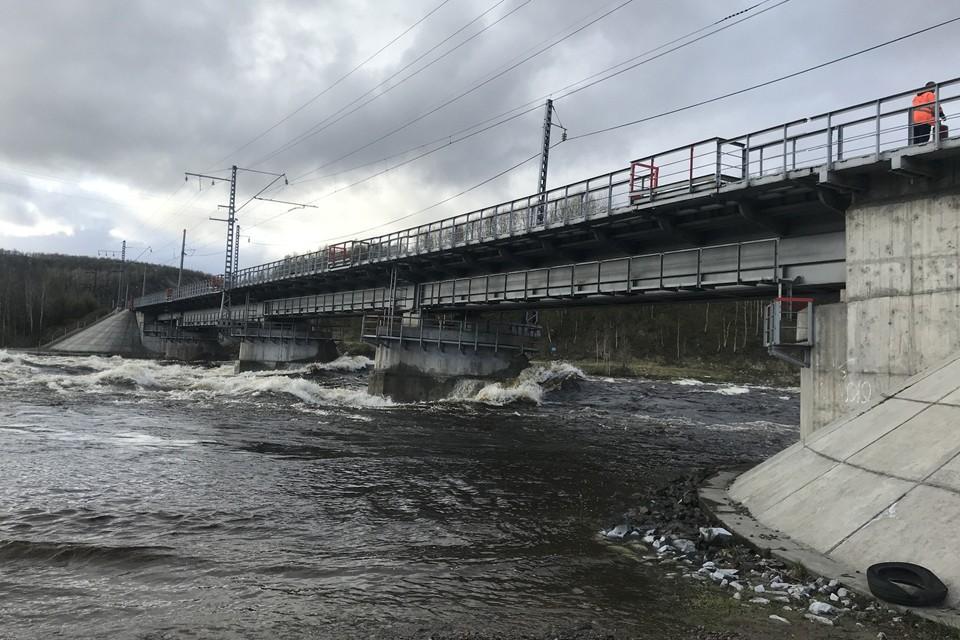 Бурнеы воды реки Кола нарушили движение поездов по мосту. Фото: МЧС по Мурманской области