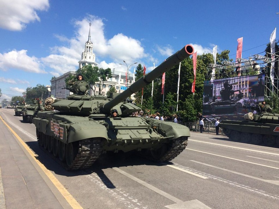 В параде участвовало около 110 единиц вооружения, военной и специальной техники